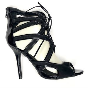 WILD DIVA Lounge Laser Cut Strappy Lace Up Heels